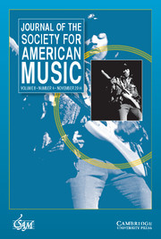 Journal of the Society for American Music Volume 8 - Issue 4 -