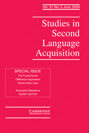 Studies in Second Language Acquisition Volume 31 - Issue 2 -  THE FUNDAMENTAL DIFFERENCE HYPOTHESIS TWENTY YEARS LATER