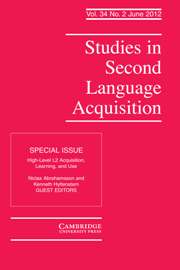 Studies in Second Language Acquisition Volume 34 - Issue 2 -  High-Level L2 Acquisition, Learning, and Use