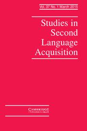 Studies in Second Language Acquisition Volume 37 - Issue 1 -