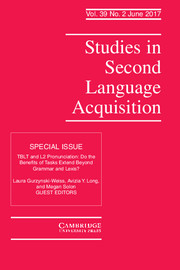 Studies in Second Language Acquisition Volume 39 - Special Issue2 -  TBLT and L2 Pronunciation: Do the Benefits of Tasks Extend Beyond Grammar and Lexis?