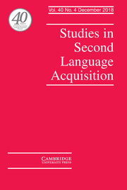 Studies in Second Language Acquisition Volume 40 - Issue 4 -