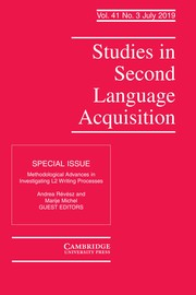 Studies in Second Language Acquisition Volume 41 - Special Issue3 -  Methodological Advances in Investigating L2 Writing Processes