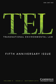 Transnational Environmental Law Volume 5 - Special Issue2 -  Fifth Anniversary Issue