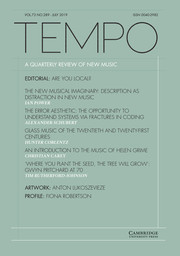 Tempo Volume 73 - Issue 289 -