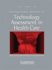 International Journal of Technology Assessment in Health Care Volume 24 - Issue 4 -