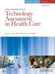 International Journal of Technology Assessment in Health Care Volume 26 - Issue 4 -