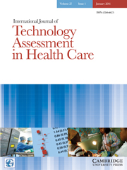 International Journal of Technology Assessment in Health Care Volume 27 - Issue 1 -