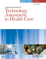 International Journal of Technology Assessment in Health Care Volume 28 - Issue 4 -