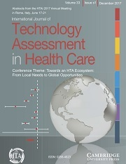 International Journal of Technology Assessment in Health Care Volume 33 - Special IssueS1 -  Conference Theme: Towards an HTA Ecosystem: From Local Needs to Global Opportunities