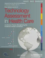 International Journal of Technology Assessment in Health Care Volume 34 - Special IssueS1 -  Conference Theme: Strengthening the Evidence-to-Action Connection