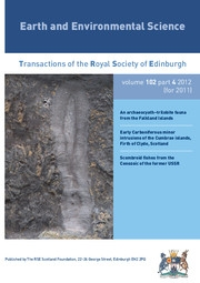 Earth and Environmental Science Transactions of The Royal Society of Edinburgh Volume 102 - Issue 4 -
