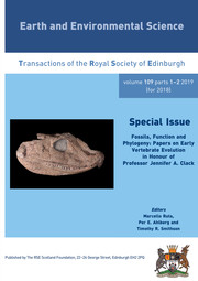 Earth and Environmental Science Transactions of The Royal Society of Edinburgh Volume 109 - Issue 1-2 -  Fossils, Function and Phylogeny: Papers on Early Vertebrate Evolution in Honour of Professor Jennifer A. Clack