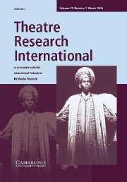 Theatre Research International Volume 29 - Issue 1 -