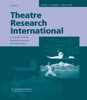 Theatre Research International Volume 33 - Issue 1 -