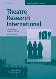Theatre Research International Volume 34 - Issue 2 -