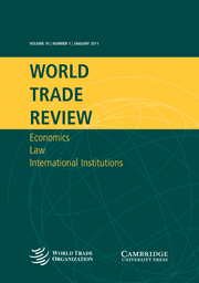 World Trade Review Volume 10 - Issue 1 -  Special Issue: Seventh report of the American Law Institute project on World Trade Organization Case Law covering 2009