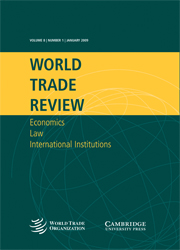 World Trade Review Volume 8 - Issue 1 -