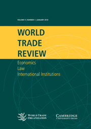World Trade Review Volume 9 - Issue 1 -  Special Issue: Sixth report of the American Law Institute project on World Trade Organization Case Law covering 2008