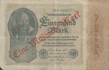 1 MILLION MARK  BANKNOTE 1923 STUTGART-INFLATION GERMANY VERY FINE MINUS