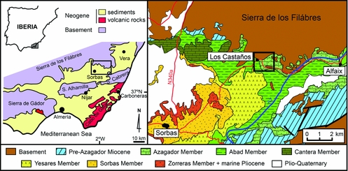 Geological Map Of Spain.Borings In Gneiss Boulders In The Miocene Upper Tortonian Of The