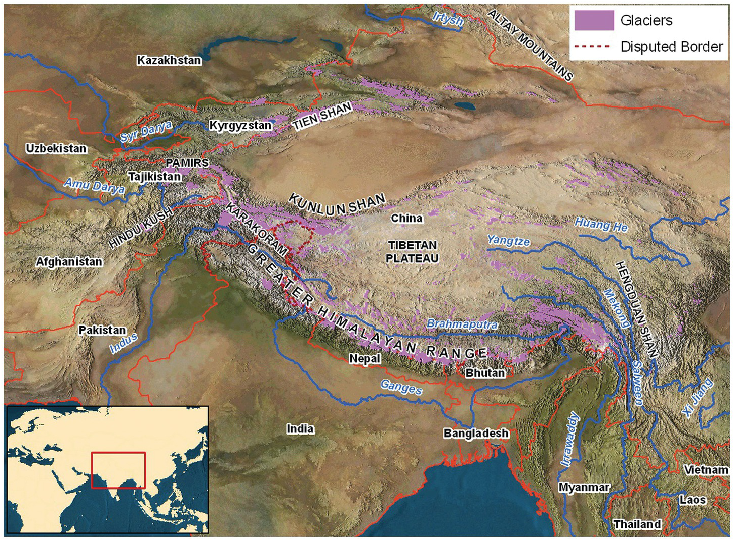 Map Of Asia Mountains.The Third Pole Chapter 8 Polar Environments And Global Change