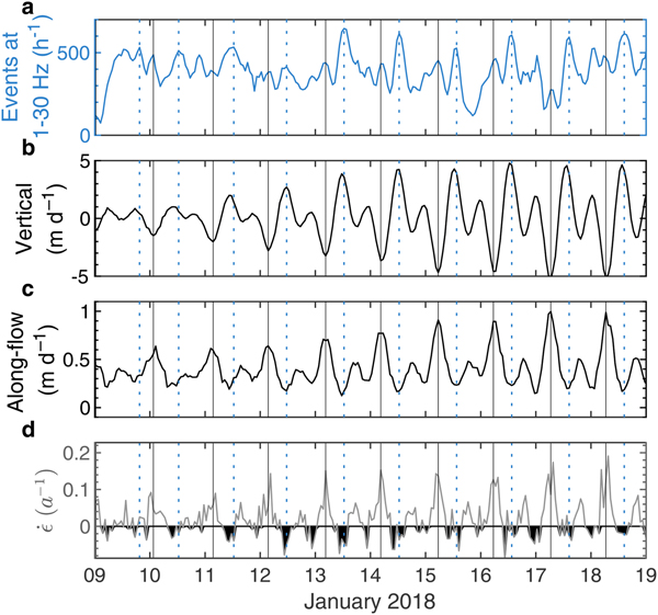 Tide-modulated ice motion and seismicity of a floating