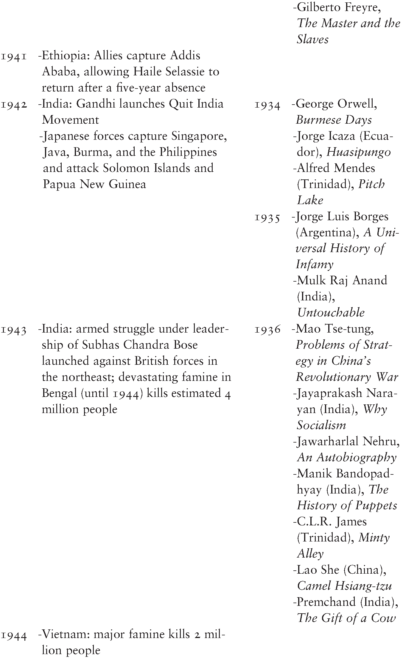 Chronology of Political and Literary Events - The Cambridge
