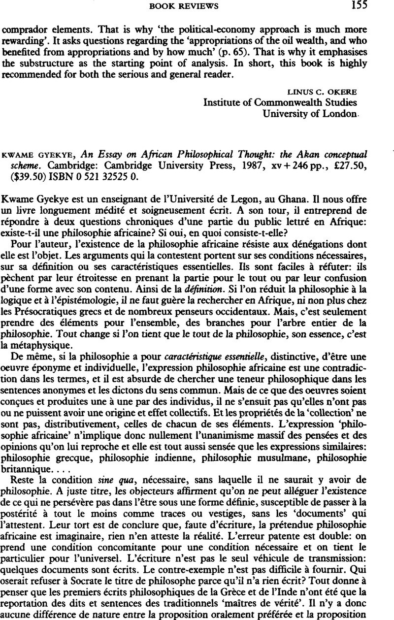 gyekye kwame an essay on african philosophical thought the akan gyekye kwame an essay on african philosophical thought the akan conceptual scheme university press 1987 xv 246 pp acircpound27 50