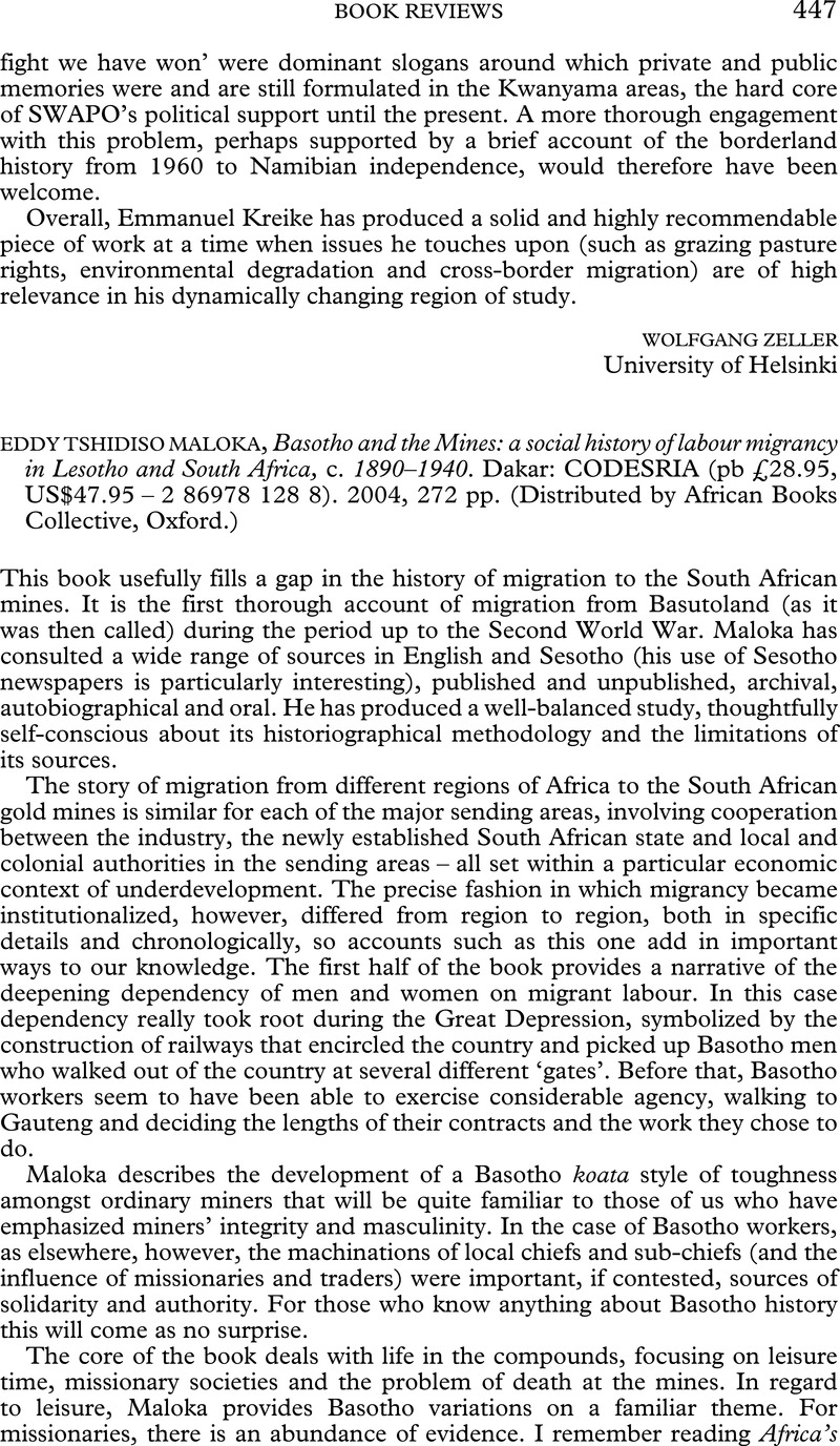 basotho and the mines a social history of labour migrancy in lesotho and south africa c 1890 1940