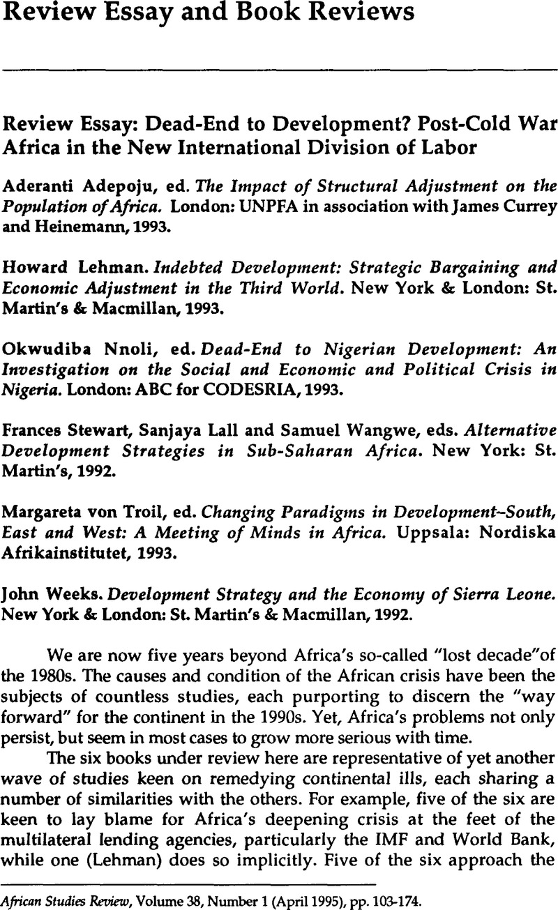 Review Essay Deadend To Development Postcold War Africa In The  Review Essay Deadend To Development Postcold War Africa In The New  International Division Of Labor