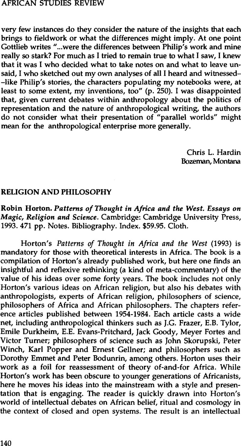 robin horton patterns of thought in africa and the west essays on  notes