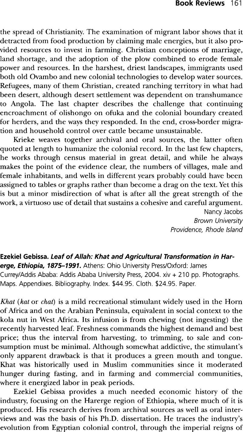 Ezekiel Gebissa  Leaf of Allah: Khat and Agricultural