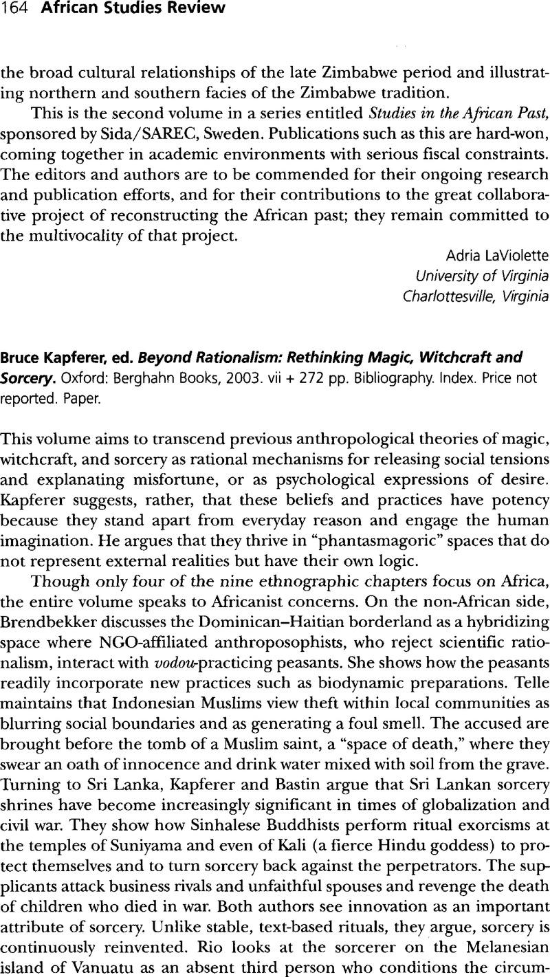 Bruce Kapferer, ed  Beyond Rationalism: Rethinking Magic, Witchcraft