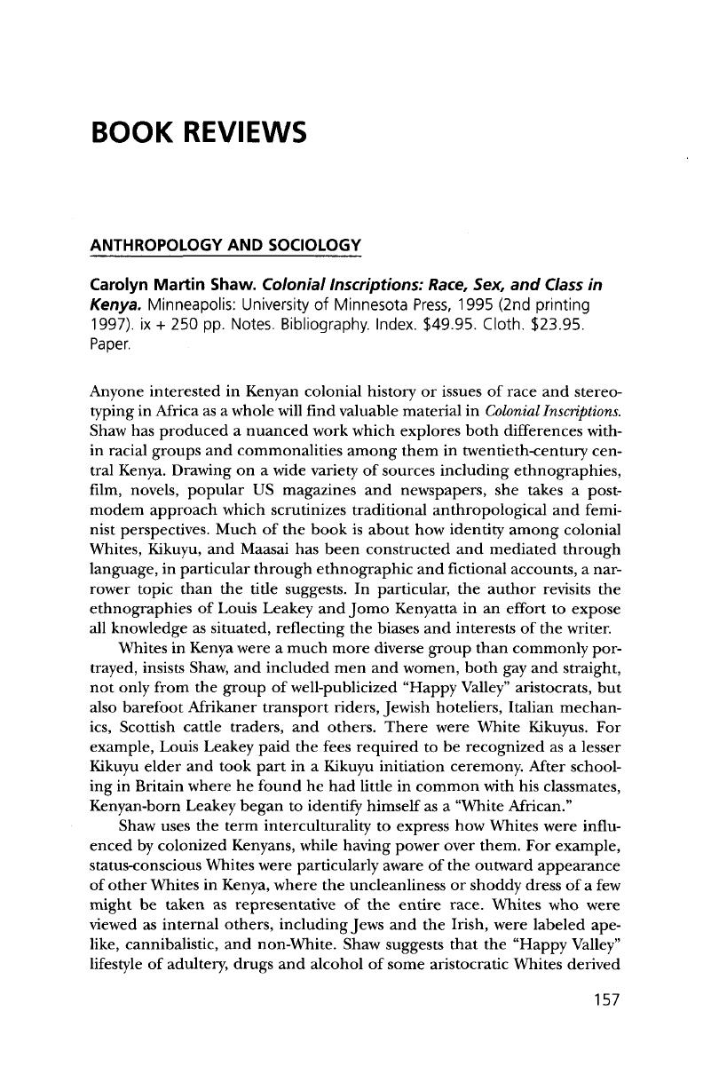 Carolyn Martin Shaw  Colonial Inscriptions: Race, Sex, and