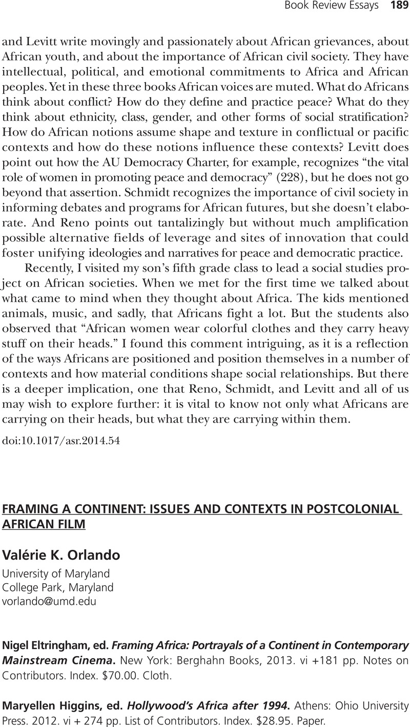 FRAMING A CONTINENT: ISSUES AND CONTEXTS IN POSTCOLONIAL AFRICAN ...