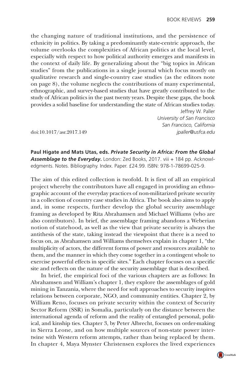 Paul Higate and Mats Utas, eds  Private Security in Africa: From the