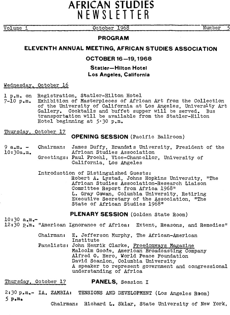 Program: Eleventh Annual Meeting, African Studies