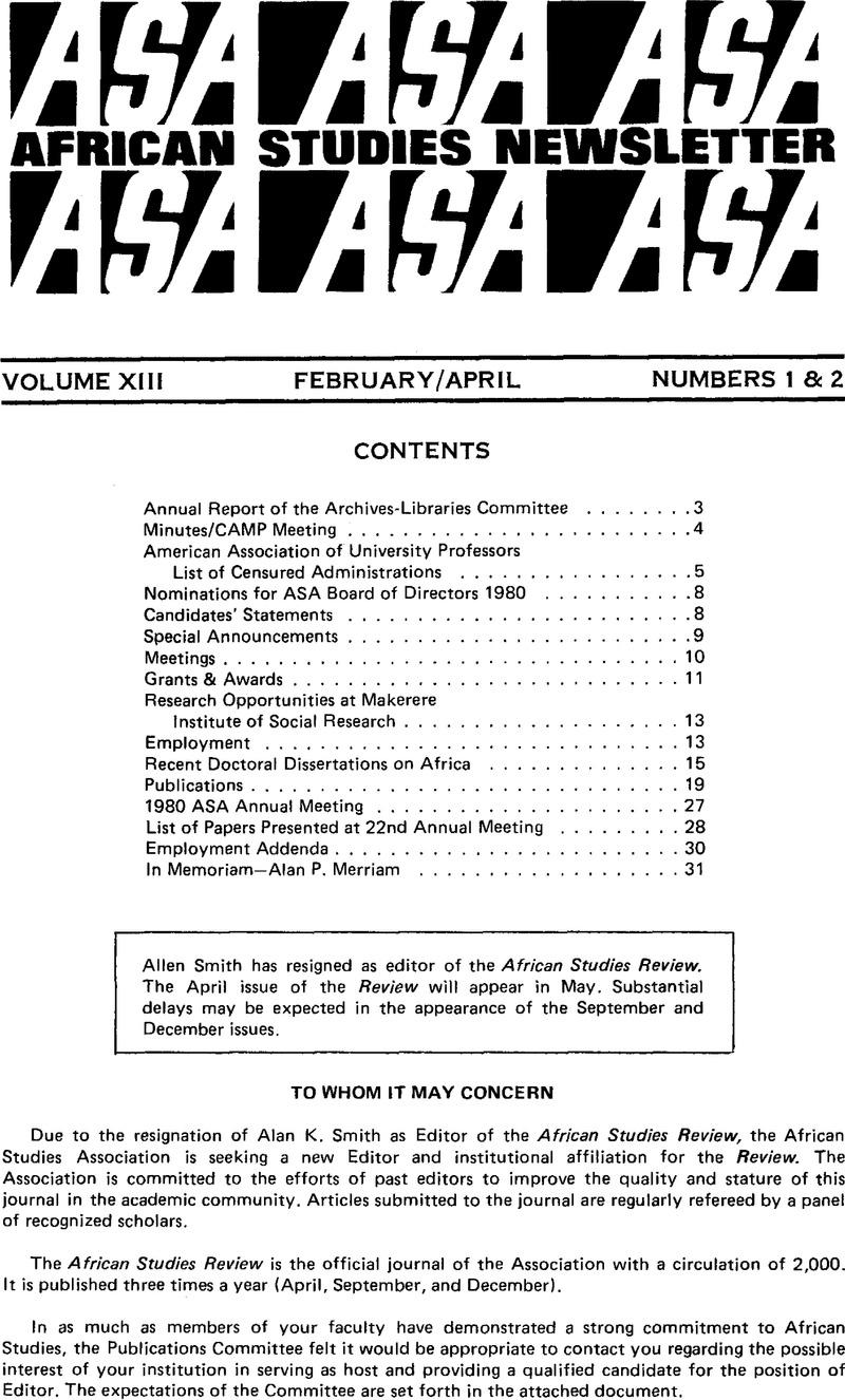 ASN volume 13 issue 1-2 Front matter | ASA News | Cambridge Core