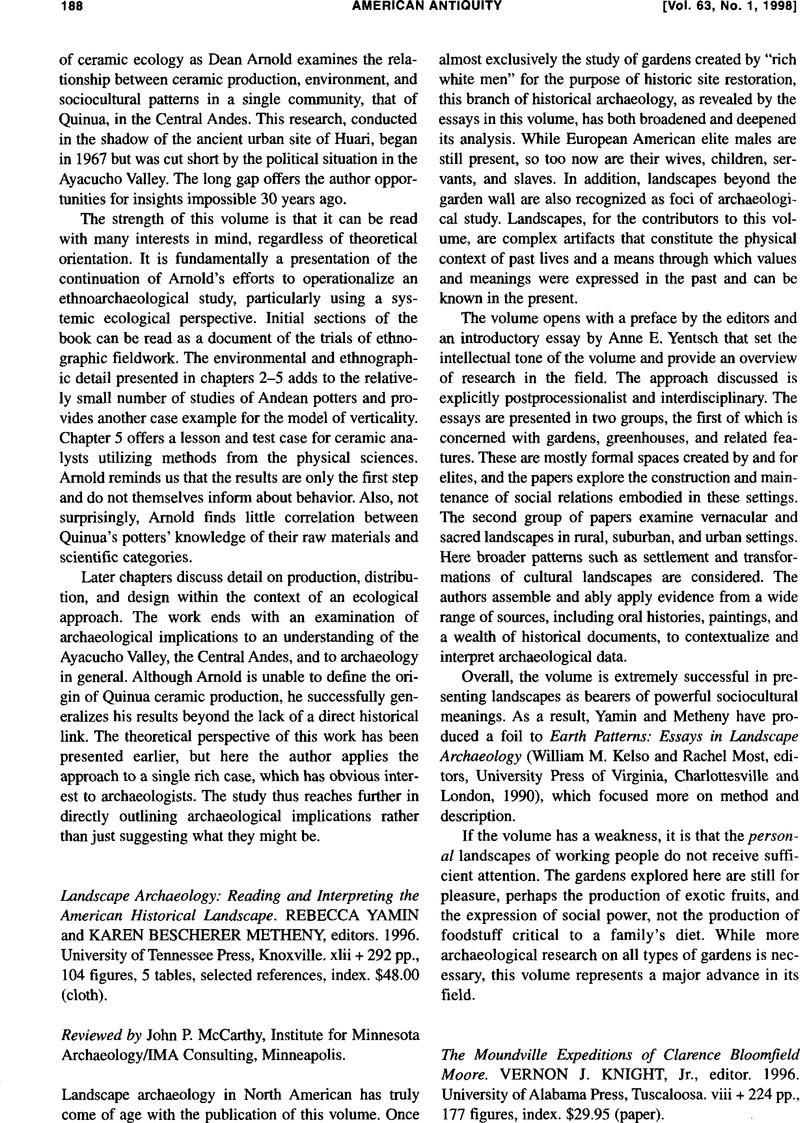 Reading Interpreting American Historical Landscape Landscape Archaeology