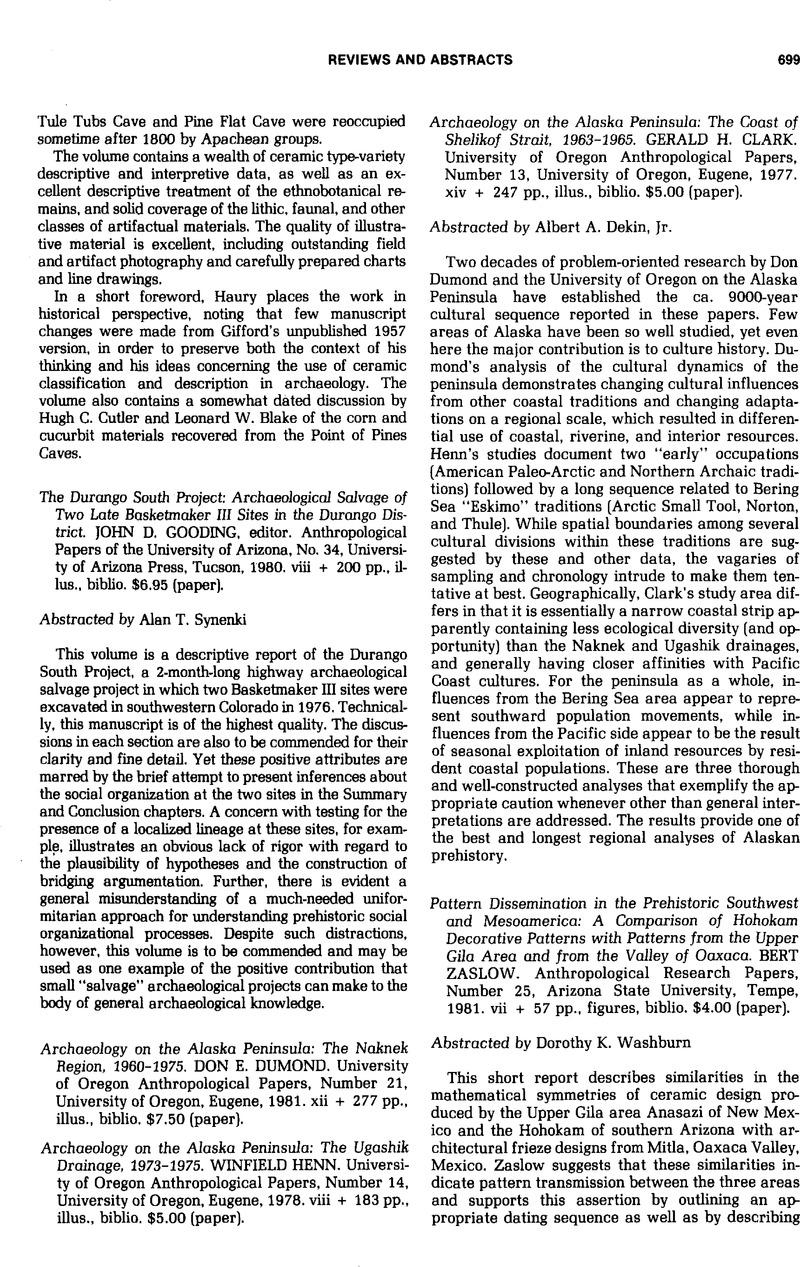 Archaeology on the Alaska Peninsula: The Naknek Region, 1960-1975