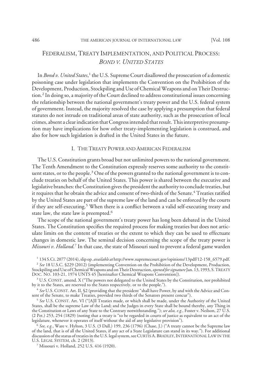 Federalism Treaty Implementation And Political Process Bond V