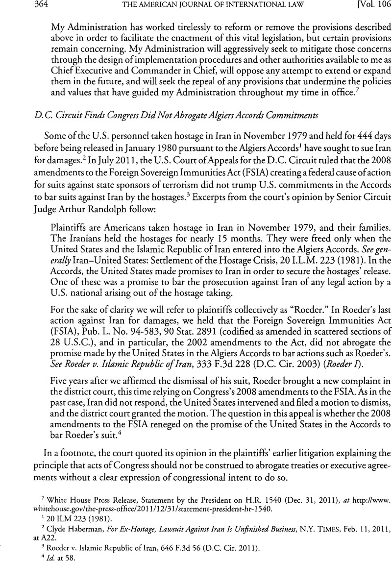 Dc Circuit Finds Congress Did Not Abrogate Algiers Accords Commitments