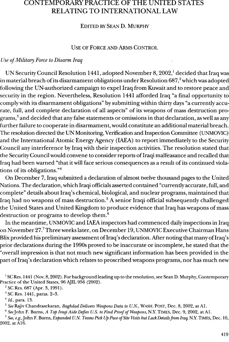 Use Of Military Force To Disarm Iraq American Journal Of International Law Cambridge Core
