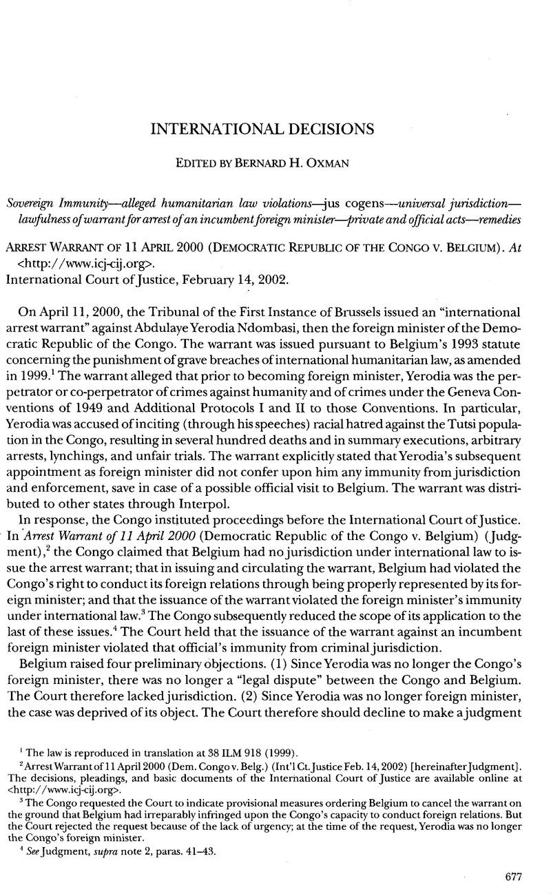 Arrest warrant of 11 april 2000 democratic republic of the congov v arrest warrant of 11 april 2000 democratic republic of the congov v belgium publicscrutiny Choice Image