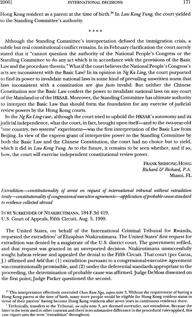 In Re Surrender Of Ntakirutimana 184 F3d 419 American Journal Of