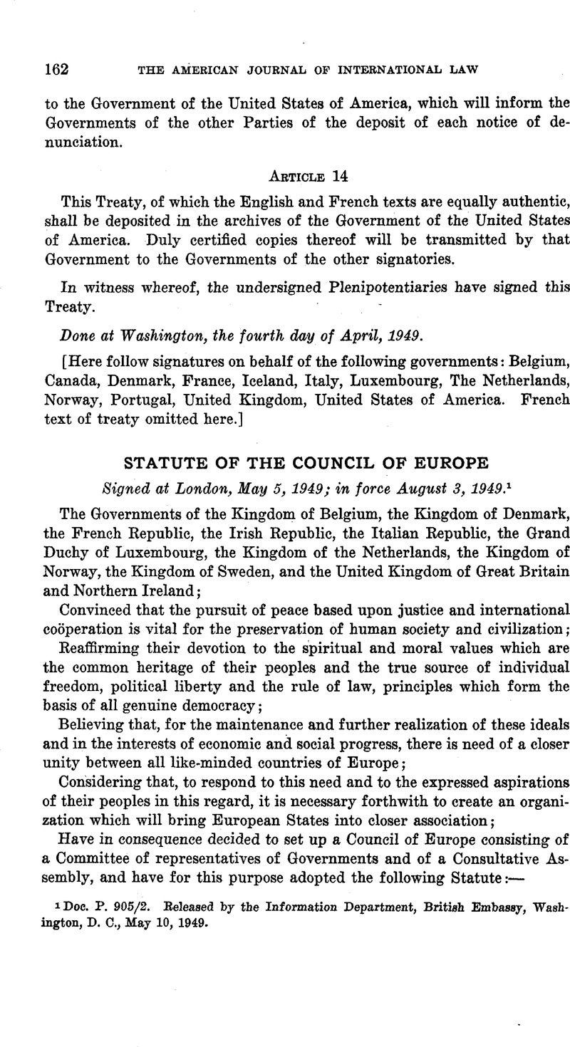 Statute of the Council of Europe