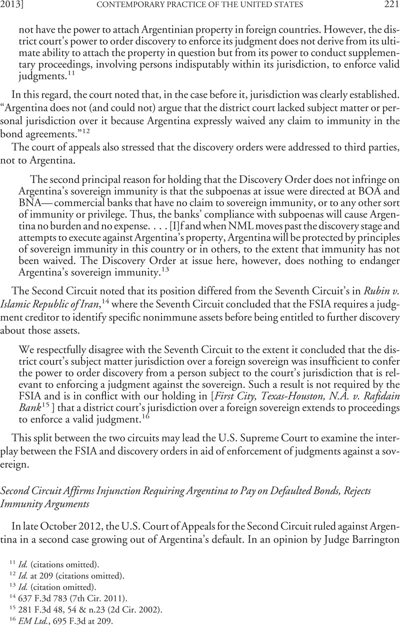 Second Circuit Affirms Injunction Requiring Argentina To Pay On 2nd Court Of Appeals Defaulted Bonds Rejects Immunity Arguments