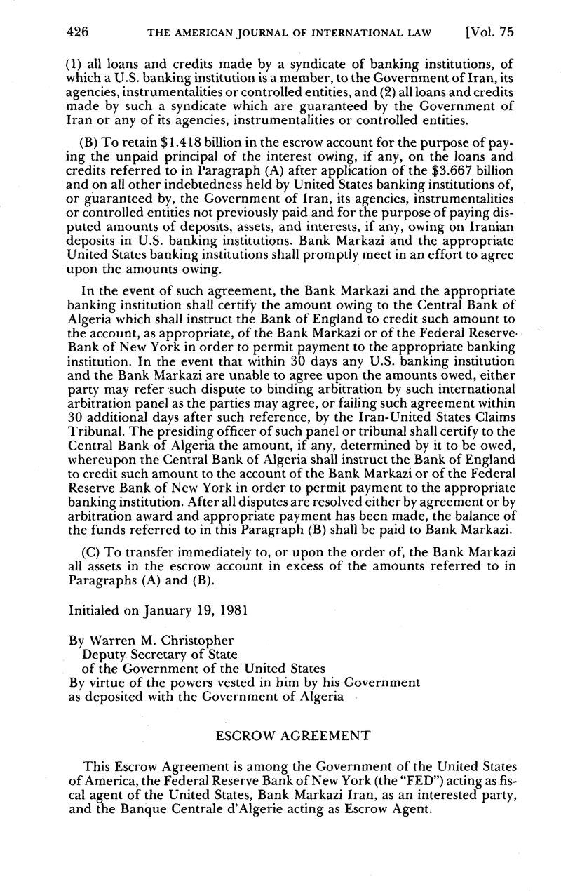 Escrow Agreement American Journal Of International Law Cambridge