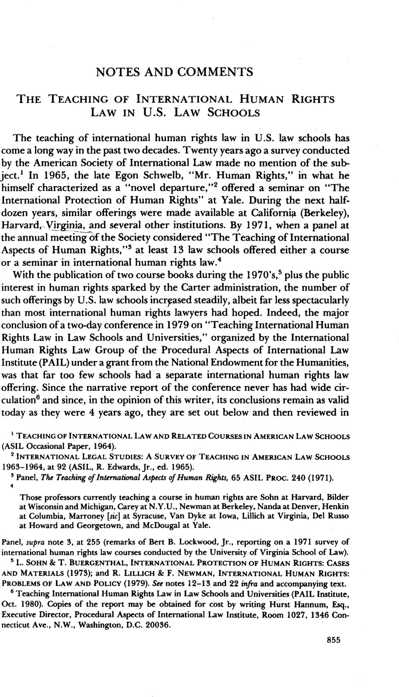 the teaching of international human rights law in u s law schools